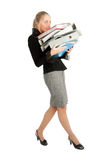 HELP. Accountant siting near to stack of files Royalty Free Stock Photography