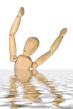 Help. Figure of drowning man in water Stock Image