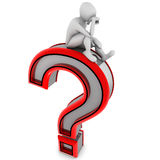 Help. 3d image, thinking supported character question mark Stock Images