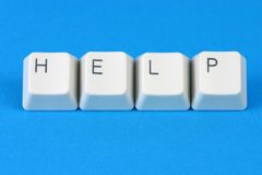 "HELP. The word ""Help"" formed with keyboard keys Stock Photo"