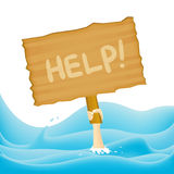 Help!. Partly submerged human hand holding a HELP! sign in the middle of a raging sea vector illustration