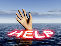 Help 23. An image of a person who is drowning Stock Image