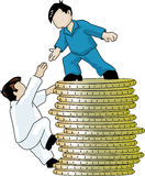 Help. Illustration of two faceless blue collar workers, one gives a hand to another to help him climb a pile of coins Stock Photo