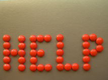 Help 3. Orange pills word on bronze vector illustration