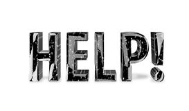 Help. 3D Shiny Help graphic text on white background Royalty Free Stock Images