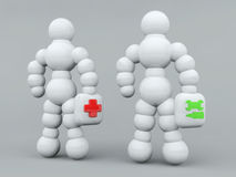 Help. Illustration concept of two human, medical or technical help Royalty Free Stock Photo