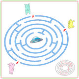 Help aliens to find their way to the flying saucer. Extraterrest Royalty Free Stock Photography