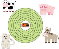 Help the animals. Illustration of a game for children: help the animals to go back to the farm! Vector: eps available Royalty Free Stock Image