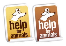 Help for animals stickers. Help for animals, first aid stickers set Stock Image