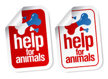 Help for animals stickers. Help for animals, first aid stickers set Stock Photography