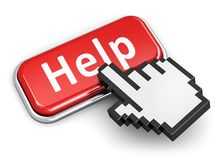 Help and assistance concept. Creative help, support and assistance concept: hand link selection computer mouse cursor pressing red metal glossy button with Help Stock Photography