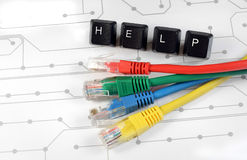 IT help, assistance, network cables circuit board background Royalty Free Stock Image