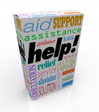 Help Assistance Words on Product Box Customer Support. The word Help and many others representing customer support -- assistance, relief, service, consultation Stock Photo