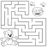 Help bear find path to honey. Labyrinth. Maze game for kids. Black and white vector illustration for coloring book. Vector illustration vector illustration