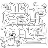 Help bear find path to honey. Labyrinth. Maze game for kids. Black and white vector illustration for coloring book. Help bear find path to honey. Labyrinth. Maze Royalty Free Stock Photography