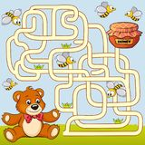 Help bear find path to honey. Labyrinth. Maze game for kids Royalty Free Stock Image