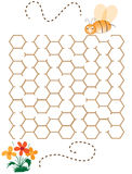 Children puzzle game- help the bee Stock Photography