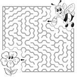 Help bee find path to flower. Labyrinth. Maze game for kids. Black and white vector illustration for coloring book. Vector illustration royalty free illustration
