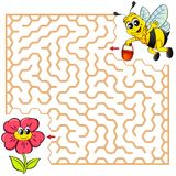 Help bee find path to flower. Labyrinth. Maze game for kids. Vector illustration Royalty Free Stock Images