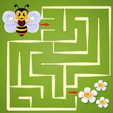Help bee find path to flower. Labyrinth. Maze game for kids. Vector isolated illustration Stock Photo