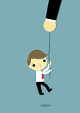 Help. Big hand carry rope for help a businessman Stock Photo