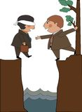 Help. Blindfolded man starts to walk off a cliff but he has help on the other side Royalty Free Stock Photo