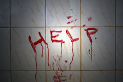 Help bloody inscription Stock Photography