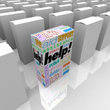 Help Box of Customer Assistance and Support on Store Shelf Stock Photography