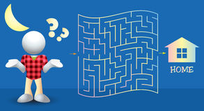 Help the Boy Find the Way Home Maze Illustration Stock Photo