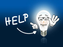 Help Bulb Lamp Energy Light blue Royalty Free Stock Photography