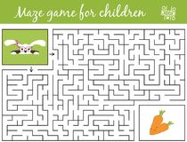 Help bunny girl find path to carrots through the labyrinth. Maze game. For kids Royalty Free Stock Images