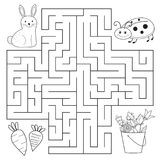 Help bunny and ladybug find way. Spring education maze for preschool children. Coloring page or book. Vector illustrator Royalty Free Stock Photography
