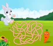 Help bunny to find way to carrot in the maze. Illustration of Help bunny to find way to carrot in the maze Royalty Free Stock Images
