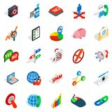 Help business icons set, isometric style. Help business icons set. Isometric set of 25 help business vector icons for web isolated on white background Royalty Free Stock Image