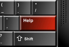 Help button. Grey keyboard with red help key. Conceptual illustration Stock Photography