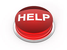 Help button. Red glass help button - 3d render Stock Photography