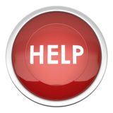 Help button. A large red help icon in three d vector illustration