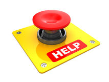 Help button. 3d illustration of red button with 'help' caption, over white background Royalty Free Stock Images