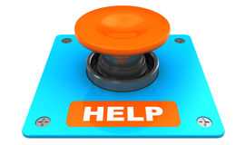 Help button. 3d illustration of orange button with 'help' caption Stock Photos