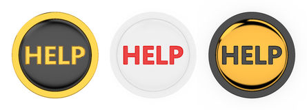 Help button. 3d render of three beautiful help buttons on white background Royalty Free Stock Photography