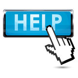 Help button. Illustration of help button with cursor on white background Stock Photography