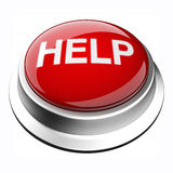 Help Button. Glossy 3D stop button in brushed metal frame Stock Photos