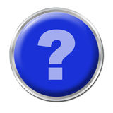 Help Button. Blue round button with the question mark symbol Stock Photo