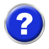Help Button. Blue round button with the question mark symbol Royalty Free Stock Photography