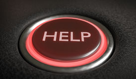 Help button for emergency assistance. 3D rendered illustration.  Stock Images