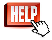 Help button and hand cursor Royalty Free Stock Photo