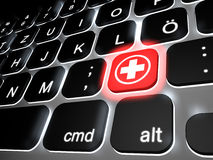 Help button. Lit keyboard with special ambulance key, 3d rendering Royalty Free Stock Image