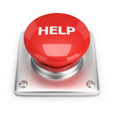Help button. Red help button. 3d image. White background Royalty Free Stock Images