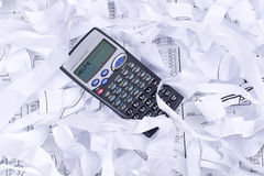 HELP on a calculator. And waste paper royalty free stock images