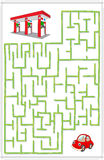 Help the car go through a maze and find petrol station. Educational game for children. Vector illustration Stock Photo